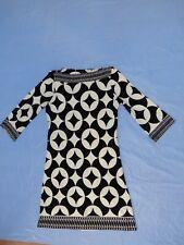 Wallis Petites Abstract Batik Print Black White Shift Dress size UK 14 EUR 42