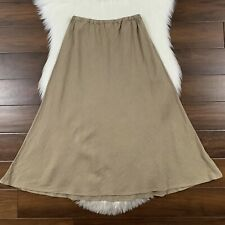 CP Shades Women's Size Medium Tan Khaki 100% Linen A Line Midi Tanya Skirt