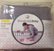 Breathable Mesh Grey Crib Liner