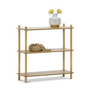 3 Tier Low Bookshelf in Natural Oak Wood in Modern Scandinavian Design