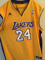654e58f93 Los Angeles Lakers Kobe Jersey Screen Printed #24 Yellow Men Size L & XL  Adidas