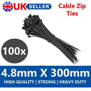100 x BLACK NYLON 4.8MM x 300MM STRONG HEAVY DUTY QUALITY PLASTIC CABLE ZIP TIES