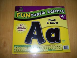 """Funtastic Letters, Teacher Created Resources, 4"""" Black & Silver NEW"""