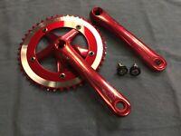 New Red 46T ALLOY CRANK SET Old School BMX Build Fixie Single Speed