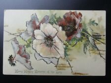Glittered Poppy Postcard: Many Happy Returns of the Day by Max Ettlinger & Co