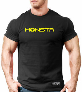 NEW MEN'S Monsta Clothing Clean and Simple Series Bodybuilding Gym Tee: Black