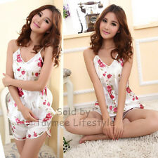 Floral Sexy Satin P.J Set Present Pyjamas pajamas Nightwear Sleepwear UK 8-10
