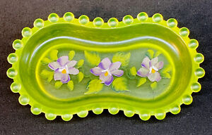 Boyd Art Glass Aunt Shiela's Pin Dish Hand Painted Flowers On Vaseline Satin