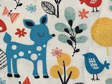 Fabric Woodland Deer Owl in Acorn Forest on White Cotton by the 1/4 yd
