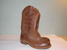 1980's Brown Leather Western Style Safety Rated Boot Men's Size 8 1/2 Ee (used)