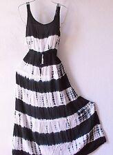 NEW~Indigo Blue Black & White Peasant Tie-Dye Beach Boho Dress~4/6/2/PS/S/Small