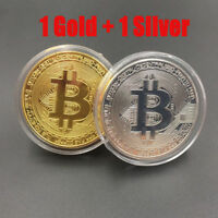 2X Gold Silver Bitcoin Coins Physical Commemorative BTC Coin With Acrylic Case
