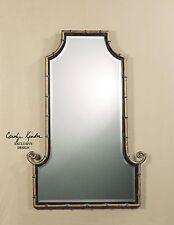Asian Elegant Iron Bamboo Wall Mirror | Gold Scroll Curl Frame