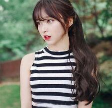 Korea style girl's Air Bang Long Curly Black Daily Fluffy Fresh Full Wig+Wig cap