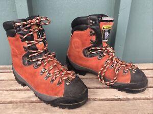 La Sportiva Makalu Red/Orange Leather Mountaineering Boots, Vibrant Soles- Used
