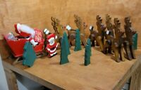 Vintage Wooden Handpainted Santa Sleigh & Reindeer Set With Christmas Trees