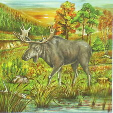 4x Paper Napkins for Decoupage Decopatch Moose in the Woods