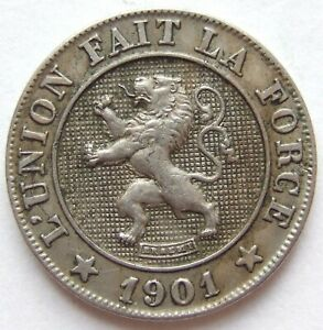 Belgium 10 Centimes 1901 KM42 IN Extremely fine
