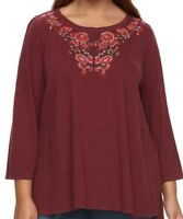 Sonoma ladies top tunic plus size 18/20 22/24 26/28 30/32 burgundy embroidered