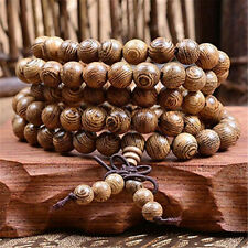 Women Men 8mm Wooden Bead Buddhist Prayer Mala Necklace Bracelet Gift Jewelry