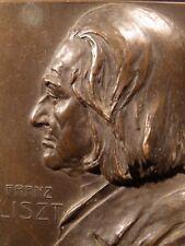 Antique Victorian Franz Liszt BRONZE RELIEF SCULPTURE Medal Art Nouveau Plaque