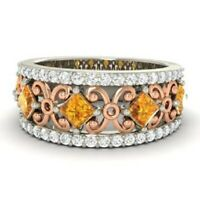 1.31 Ct Natural Diamond Citrine Engagement Eternity 14K Solid White Gold Ring