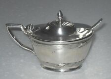 ART DECO 1920 CHESTER SOLID STERLING SILVER MUSTARD POT & SPOON ANTIQUE
