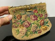 Antique Needlepoint Floral Rose Victorian Coin Change Evening Purse