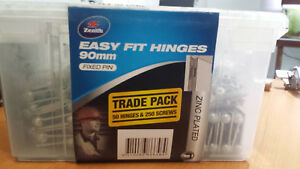 50 x Zenith 90mm Zinc Plated EASY FIT HINGES Fixed Pin (non mortise, Hirline)