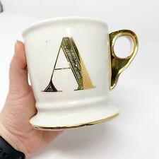 Anthropologie | Gold Metallic Monogram 'A' Mug Coffee Cup