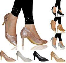 Mujer Fiesta Noche Crystal-Embellished Mesh Medio Zapatos de Salón Tacón Alto