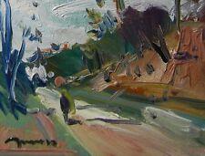 JOSE TRUJILLO Oil Painting Impressionist ORIGINAL Landscape Person Walking ART