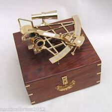 """Huge Brass Sextant 10"""" With Wooden Case Nautical Maritime Astrolabe Ship Decor"""