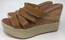 Bettye Muller Women Size 7 Cork Espadrilles Wedges Slides Brown Leather