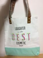 Benefit Cosmetic 2018 Laughter Is The best Shopping Tote Shoulder Bag White/Blue