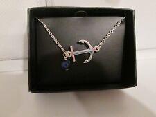 "Avon Anchor Bracelet - Silvertone Lapis Stone Charm, 7 1/4"" + 1"" extender NEW"