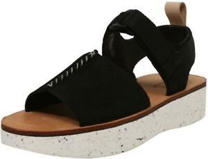 BNIB Clarks/Originals Ladies Trek Maya Black Nubuck Leather Wedged Sandals
