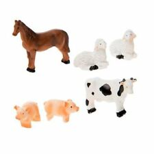 Miniature Dollhouse Fairy Garden Farm Animal Set of 6 Horse Cow Sheep Pigs