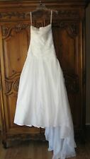 Galina Soft White Wedding Gown Flower embellishments. Fit and Flare Size 4