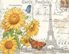 EIFFEL TOWER SUNFLOWERS BUTTERFLY MOUSE PAD  IMAGE FABRIC TOP RUBBER BACKED