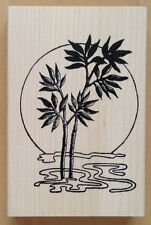 Wood Mounted Rubber Stamp, Asian Stamps, Scenic, Bamboo Sun, Sunset, Bamboo Tree