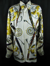 HERMES Jacquard Silk Shirt Blouse Multi-Color Princes Soleil Long Sleeve Sz 38
