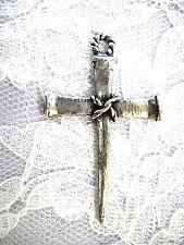 NEW JESUS CARPENTER CROSS OF NAILS USA CAST PEWTER PENDANT ON ADJ NECKLACE