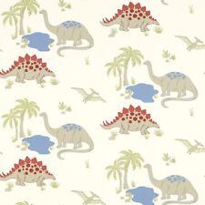 LAURA ASHLEY Dinosaur Wallpaper Linen/Multi Kids 10m x 53cm 1 Roll W091804-A/1