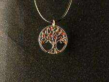Lebensbaum Strass Rot Anhänger mit Kette 24 Karat Vergoldet Baum Leben Charm