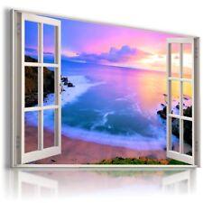 BEACH SUNSET OCEAN SEA CLIFFS 3D Window View Canvas Wall Art  W594 MATAGA .