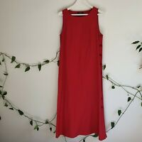 Yarra Trail Red Side-Button Maxi Dress AU12 M-L Linen Cotton Sleeveless Classic