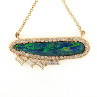 14k Yellow Gold Opal Gemstone Charm Pendant Necklace Baguette Diamond Jewelry