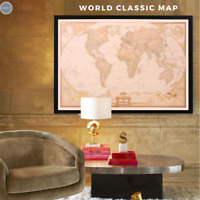 Retro Kraft Paper Travel Poster - World Maps - for Bar Cafe Room Home Wall Decor