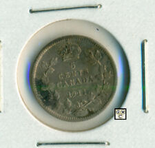 Canada 1911  -  5cents Coin ;  EF